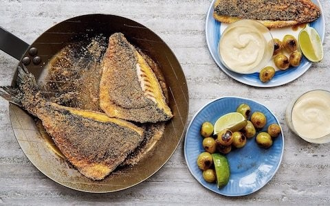 Sea bream with smoked paprika, grapes and ajo blanco recipe