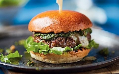 Home-made beef burger with chimichurri sauce recipe