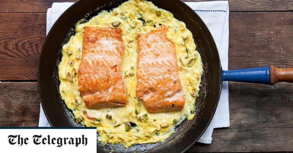 Trout with saffron and pistachios recipe