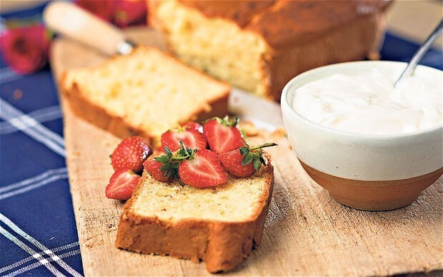 Cardamom and rosewater cake with yogurt and strawberries recipe