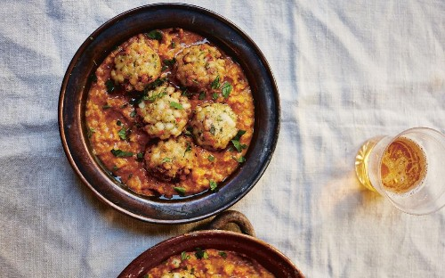 Squid meatballs with saffron and almond sauce