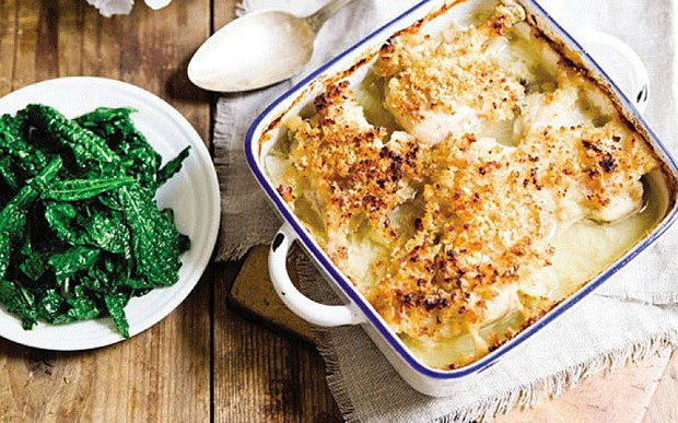 Chicken gratin and salt-baked potatoes recipe