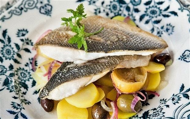 Oven-baked sea bass with olives recipe