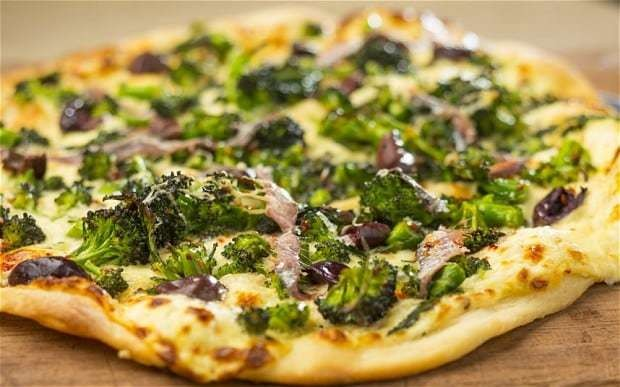Purple sprouting broccoli, anchovy and Parmesan pizza recipe