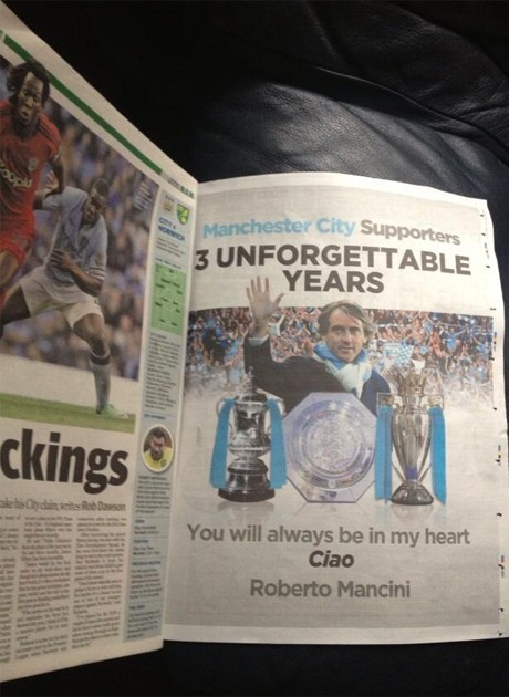 Roberto Mancini takes out advert in Manchester Evening News thanking Manchester City fans