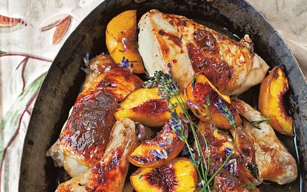 Roast chicken with peaches, honey and lavender recipe