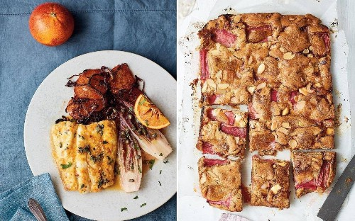 A feast for February – starring the best rhubarb and white chocolate blondies