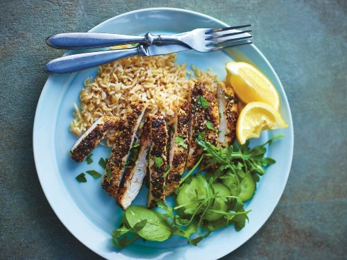 Lemon, thyme and pepper crusted chicken