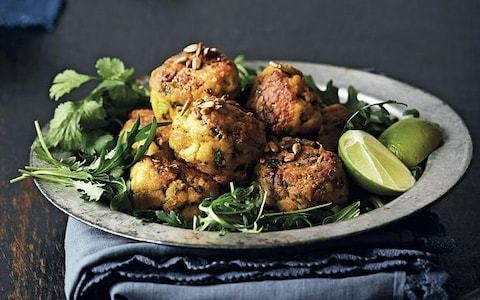 Turmeric fish balls with sunflower seeds and rocket recipe