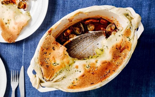 Baked sea bream with a flatbread lid