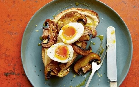 Marmite cream-cheese toast with mushrooms recipe