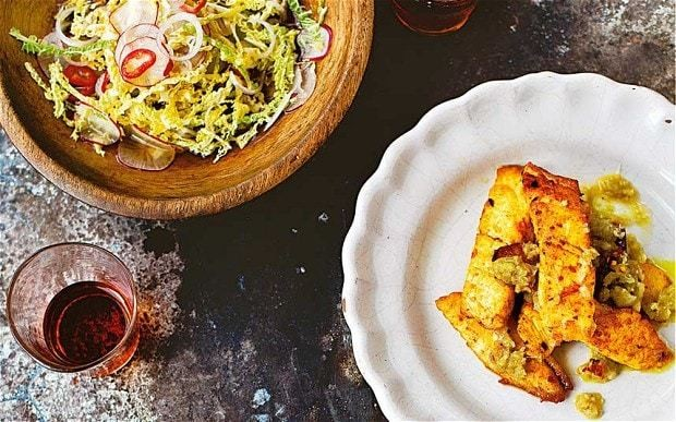 Burmese chilli fish with hot and sour salad recipe