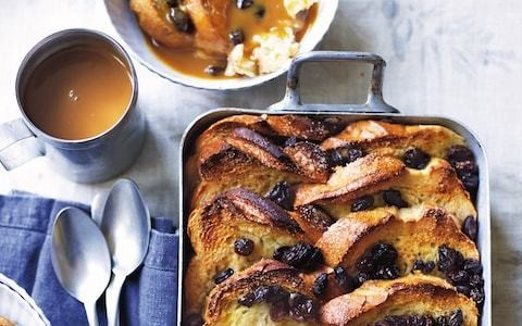Salted caramel whisky bread and butter pudding