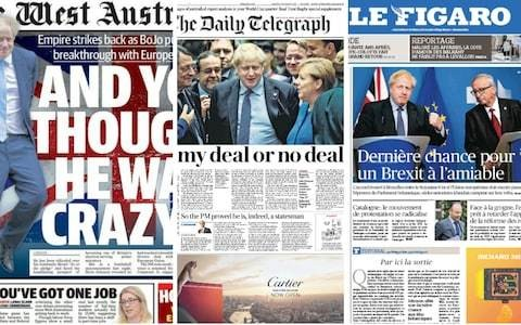 'And you thought he was crazy...' How the world's newspapers reacted to Boris Johnson's Brexit agreement