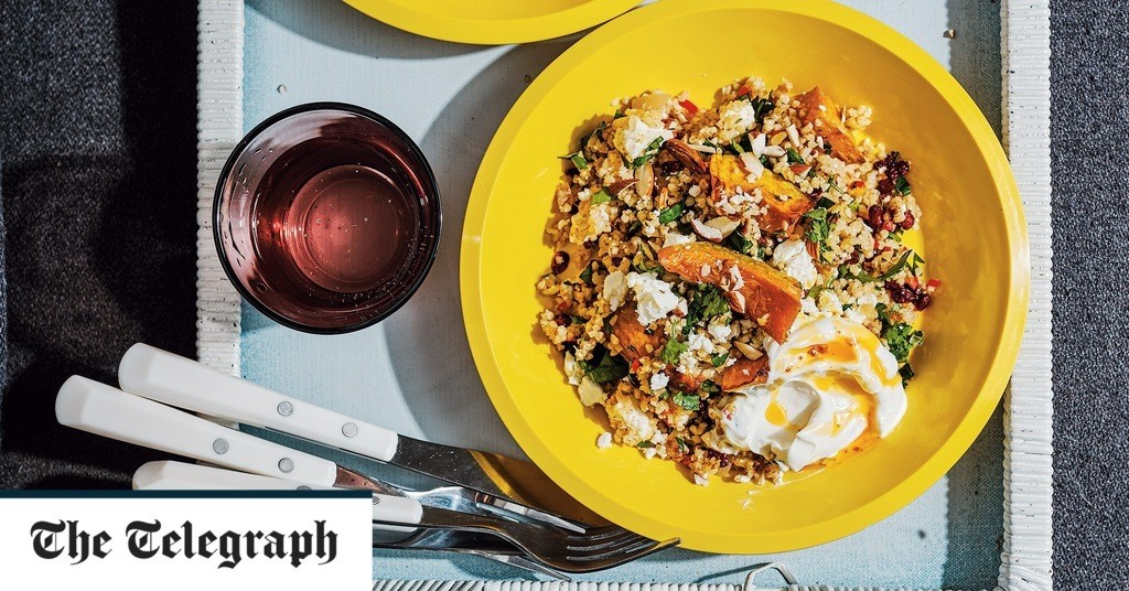 Roast pumpkin and bulgur wheat with preserved lemon, feta and almonds recipe