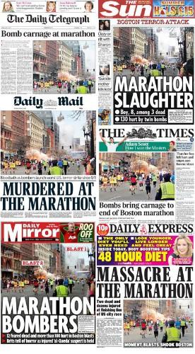 Boston Marathon explosions: world media reaction to the bombs