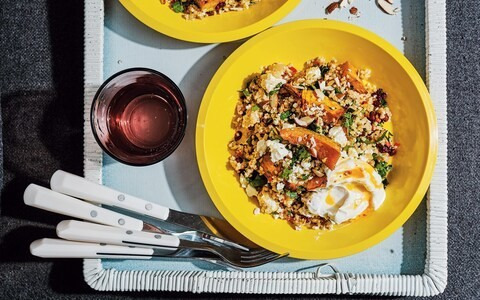 Roast pumpkin and bulgur wheat with preserved lemon, feta and almonds recipe