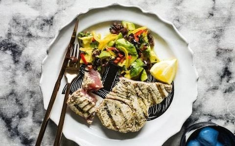Seared tuna with preserved lemon, black olive and avocado relish recipe