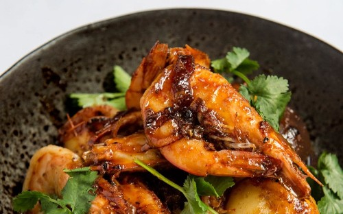 Sexy Fish: hot and sour prawns with new potatoes
