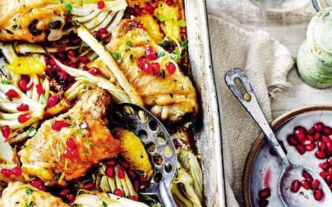 Roast chicken thighs with orange, fennel and pomegranate recipe