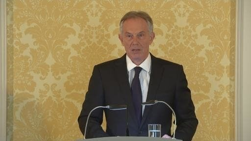 Gaunt, hoarse and haunted: Tony Blair looked a broken man