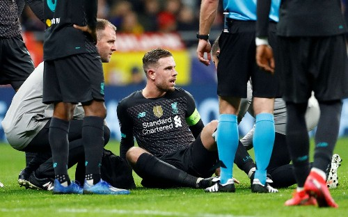 Jordan Henderson ruled out for three weeks putting Atletico Madrid return leg in doubt