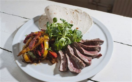 Speedy weeknight suppers: steak wraps with peppers and watercress sauce