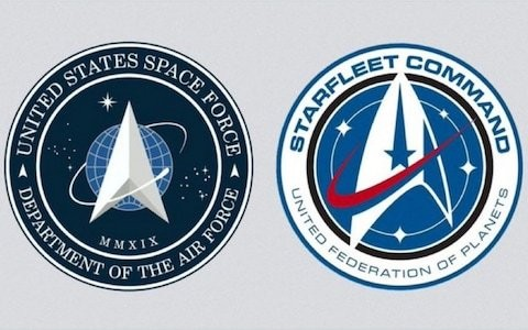 Donald Trump's US Space Force logo compared to Star Trek Starfleet Command badge