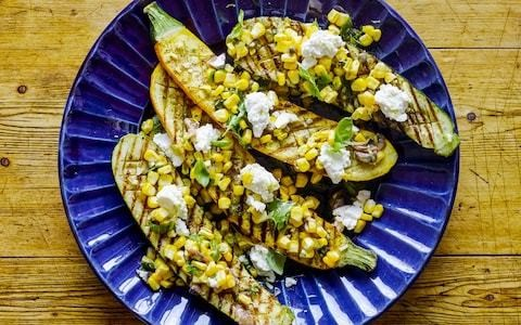 Grilled courgette and sweetcorn salad recipe