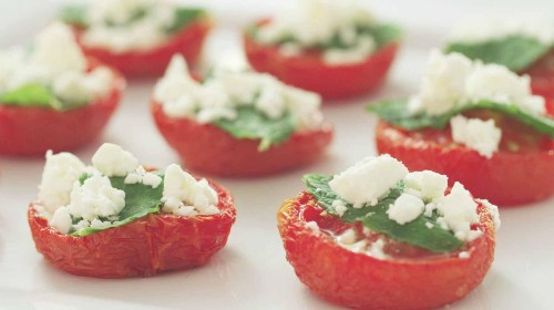 Xanthe Clay's roasted tomatoes, mint and feta canapés