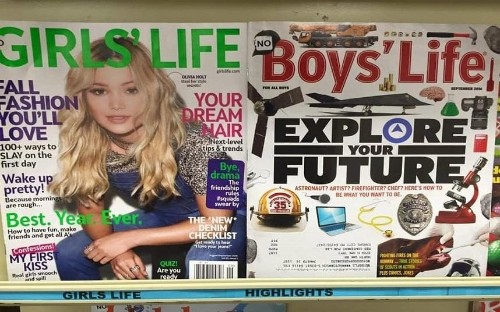 Mother slams teen magazine for difference in girl v boy front covers