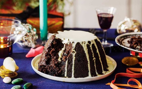 Rich Christmas pudding with pumpkin and dark chocolate