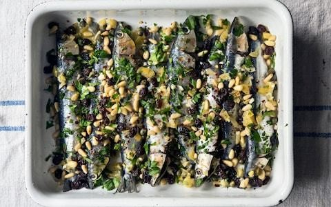 Baked sardines with capers, raisins and preserved lemon