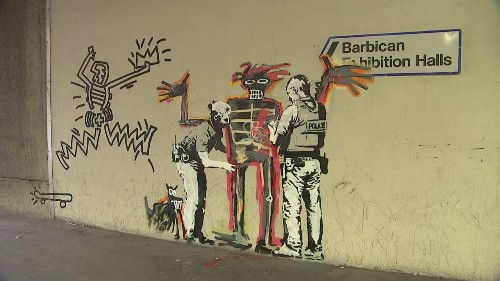 Banksy pays homage to Jean-Michel Basquiat two new artworks outside Barbican Centre