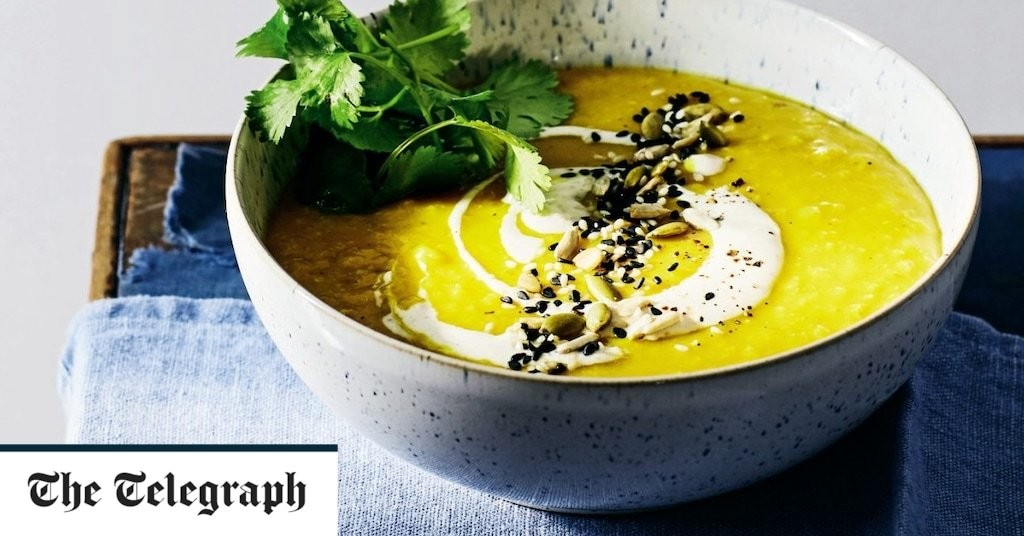 Red lentil soup with turmeric and masala yogurt recipe