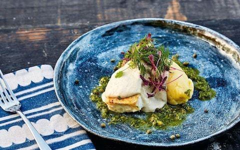 Pan-seared cod with olive-oil mash and tonnato recipe