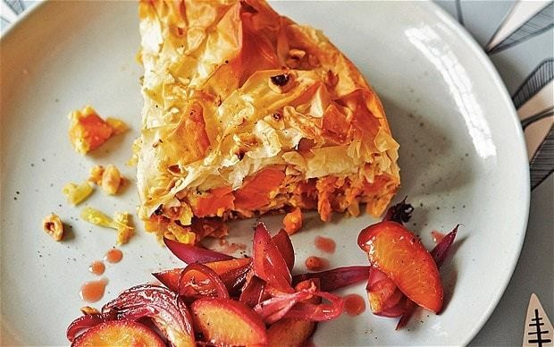 The new vegetarian: sweet-potato pastilla with plums and onions