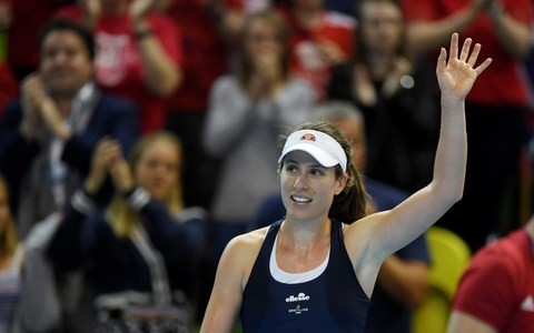 Johanna Konta overcomes Zarina Diyas and a noisy crowd to take Fed Cup point for Great Britain against Kazakhstan