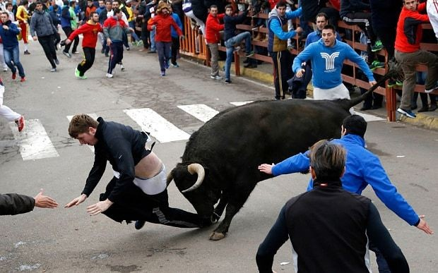 American tourist who suffered 'biggest goring wound' at Spanish bull-running festival recovers