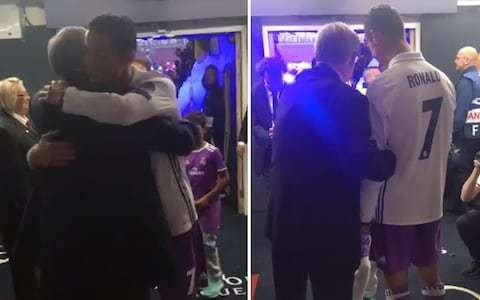 Cristiano Ronaldo shares emotional embrace with Sir Alex Ferguson after historic Champions League triumph