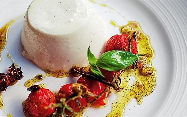 Bruno Loubet's goat's-milk panna cotta with candied tomatoes