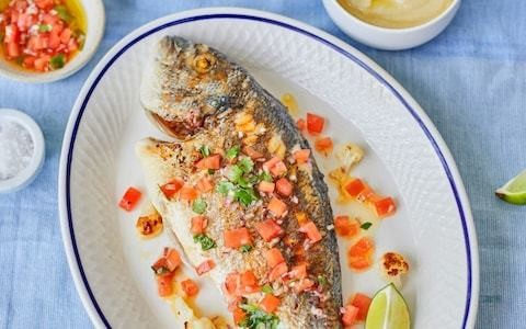 Grilled sea bream with cauliflower purée and antiboise sauce recipe