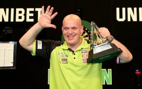 Michael van Gerwen wins his fifth PDC Premier League title, as Robin van Persie watches on