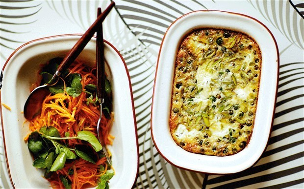 The new vegetarian: garden-pea clafoutis with goat's cheese