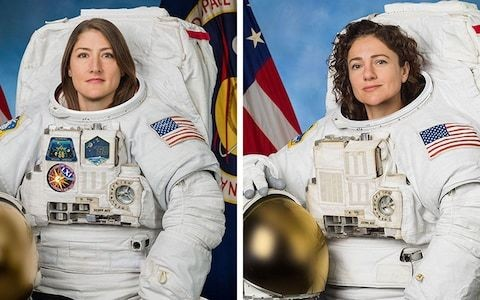 Nasa's first female spacewalk as Christina Koch and Jessica Meir step out to replace broken battery charger