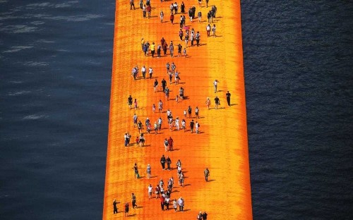 Christo unveils a modern miracle: 'For 16 days, they will walk on water!'