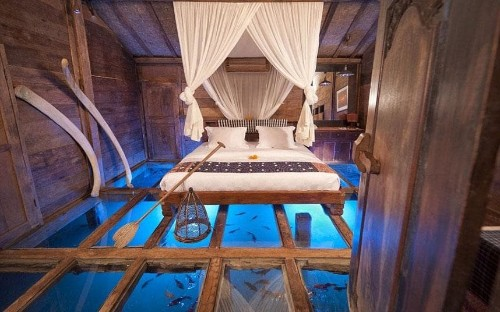 Bali's glass-bottomed hotel room