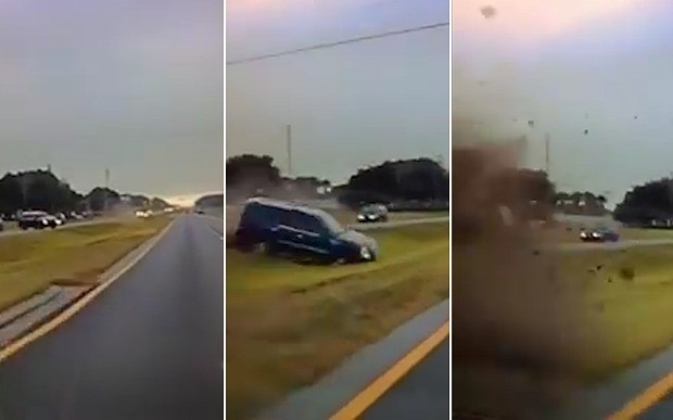Near miss: SUV flips on highway and almost takes out sheriff's vehicle