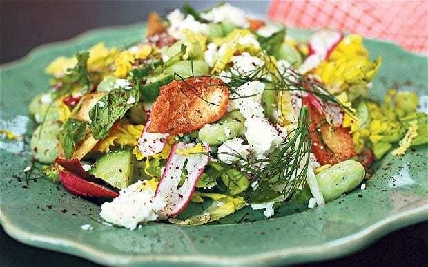 Broad bean chop salad