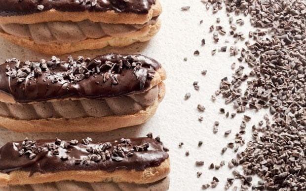 Chocolate and coffee éclairs